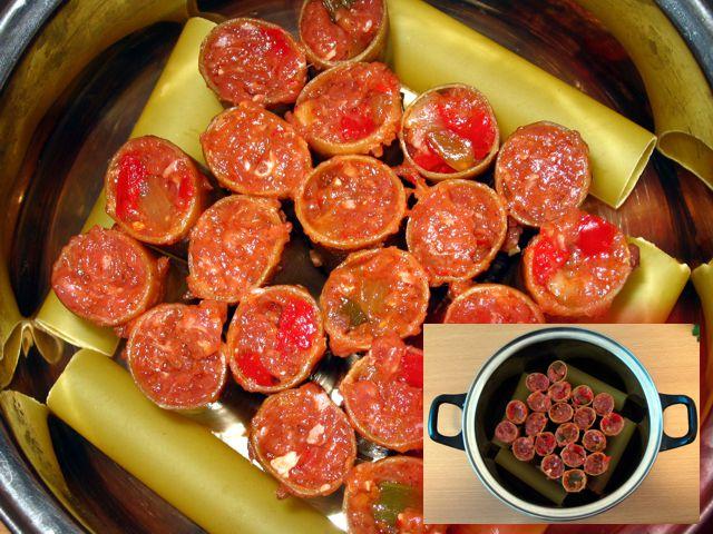 Cannelloni z farszem przed gotowaniem
