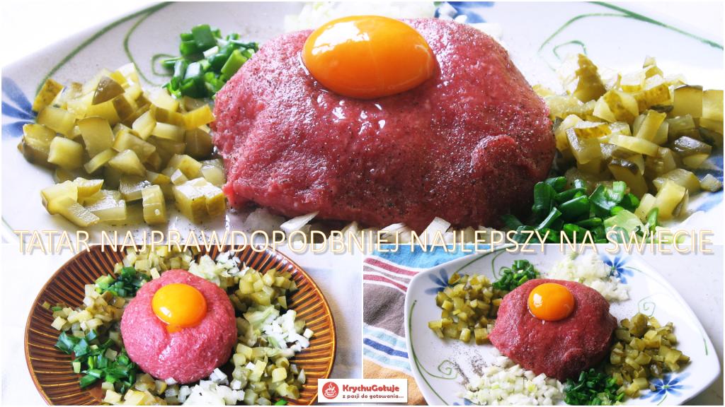 Tatar z cebulą, szczypiorkiem, ogórkiem, żółtkiem jaja.