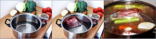 Żeberka, marchew, seler, pietruszka, czosnek w garnku, brokuł kalafior na stole