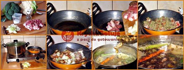 Podsmażanie pokrojonych w kostkę żeberek i cebuli