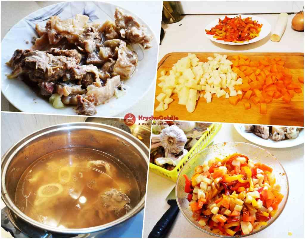 Przygotowanie mięsa z bulionu oraz włoszczyzny