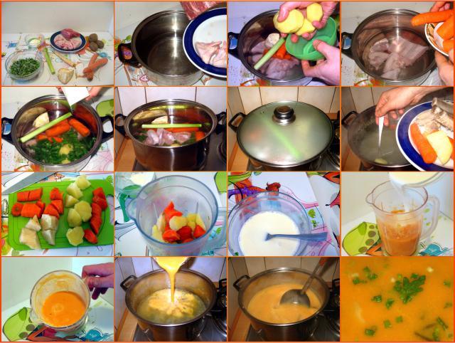 Etapy przygotowania zupy jarzynowej przecieranej